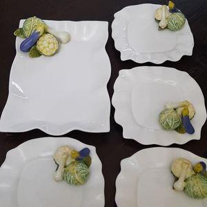 Bowering Platter & 6 Plates